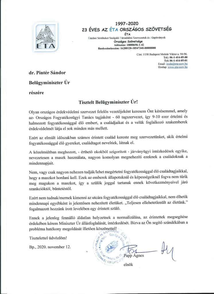 Belügyminisztériumi állásfoglalás kérése maszk használattal kapcsolatban