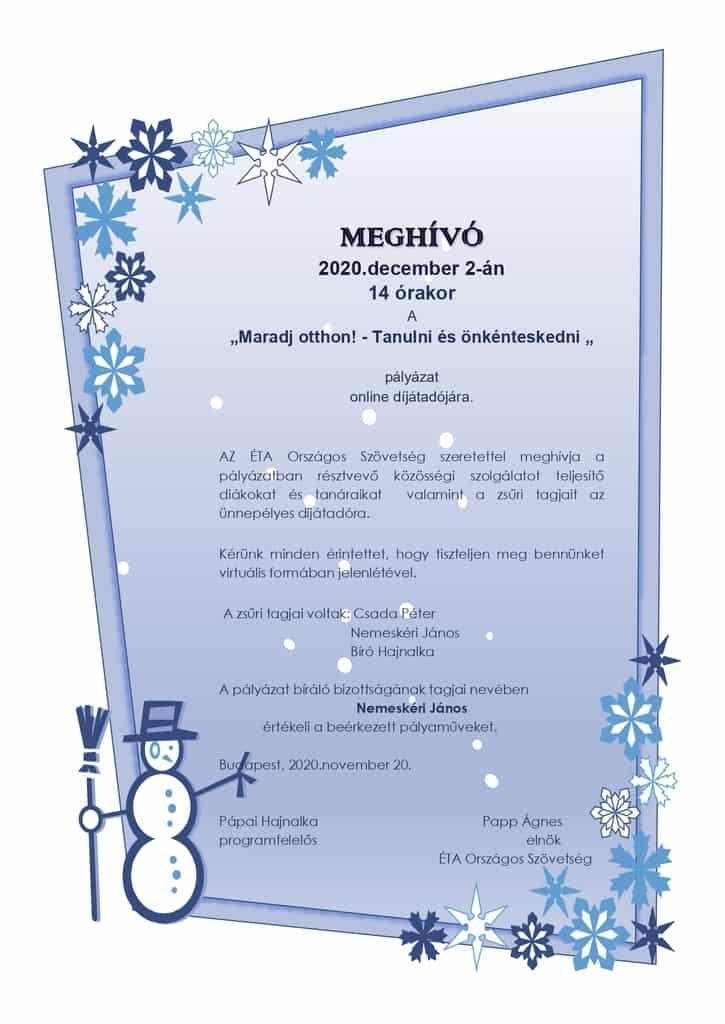"""MEGHÍVÓ - online díjátadó :: """"Maradj Otthon! -Tanulni és önkénteskedni"""""""