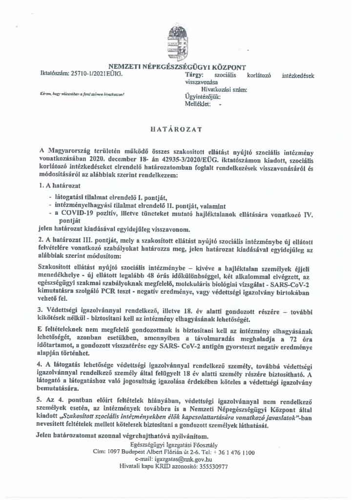 A szociális intézményekre vonatkozó COVID-korlátozások visszavonása
